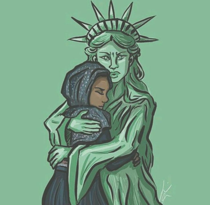 """...Give me your tired, your poor, Your huddled masses yearning to breathe free, The wretched refuse of your teeming shore. Send these, the homeless, tempest-tost to me, I lift my lamp beside the golden door!"""
