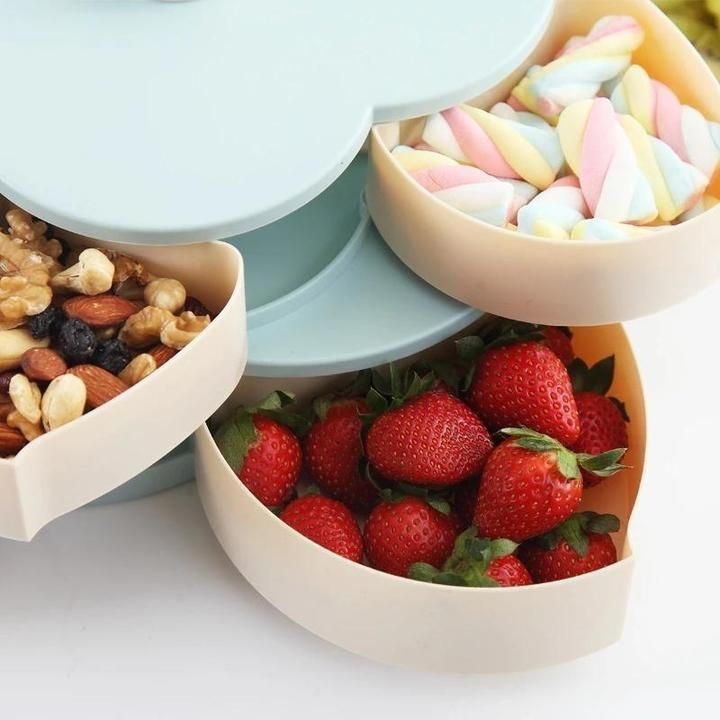 Rotating Candy Storage Box Nuts Snack Tray Dried Fruit Plate Container Plastic