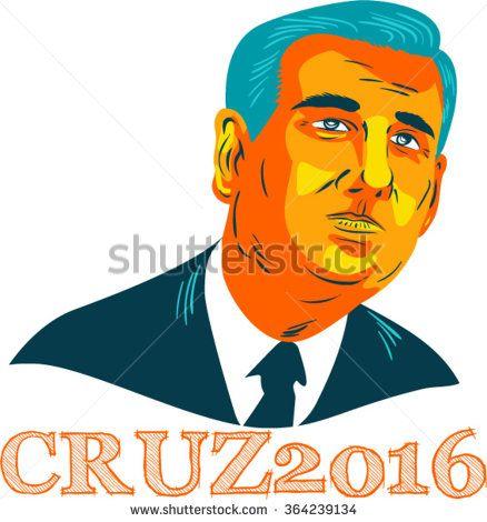 Jan. 19, 2016: WPA style illustration showing Rafael Edward Ted Cruz, an American senator, politician and Republican 2016 presidential candidate with words Cruz 2016. - stock vector #Cruz2016 #wpa #illustration