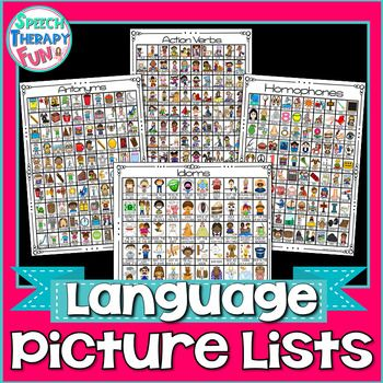 Do you need progress monitoring help, therapy ideas, functional decor or language homework? This AMAZING set addresses pronouns, prepositions, antonyms, synonyms, homonyms, homophones, categories, vocabulary, action verbs, irregular past tense verbs, regular past tense verbs, plurals, idioms & more!