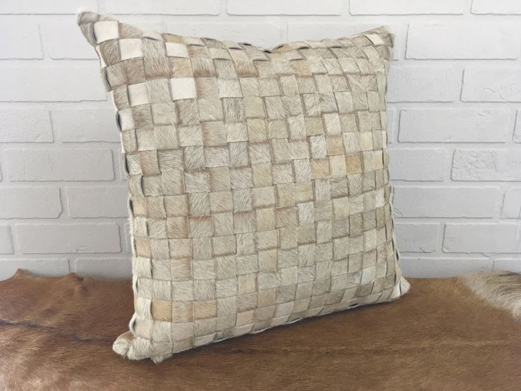 """Fantastic 20"""" hand made basketweave real hair on cowhide pillow cover in natural beige - FREE SHIPPING in USA and Canada Hygge Scandi modern http://etsy.me/2onVPAg #housewares #homedecor #beige #housewarming #entryway #gauchocollection #cowhide #western #cushion"""