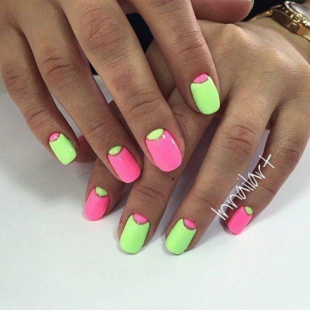 Bold nails, Bright gel polish for nails, Bright moon nails, Bright summer nails, Contrast nails, Half moon nails 2016, Interesting nails, June nails
