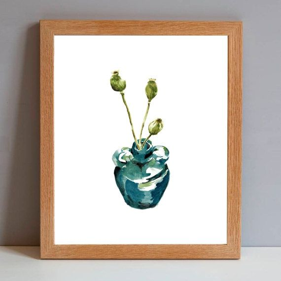 Green poppy pods in the blue glass vase makes a great addition to your home or office decor. This botanical printable print is one of my latest watercolor paintings. A digital instant download by ArtMii