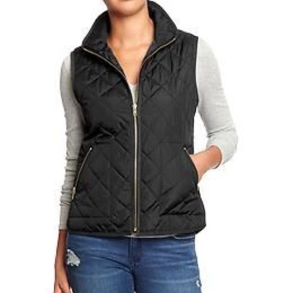 Black quilted vest NWT! Just slightly too big for me in the hips, as I tend to be closer to an xxs. It's pretty true to size, but closer to the small side. Lightweight & perfect for transitioning into spring! Old Navy Jackets & Coats Vests