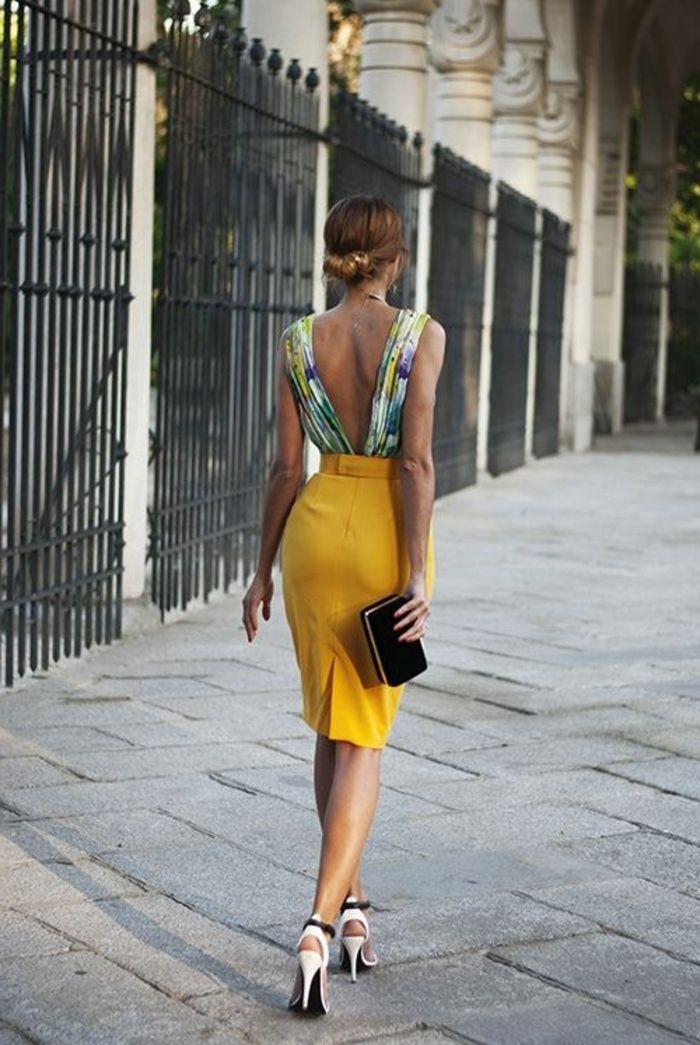 robe habillee jaune avec talons hauts
