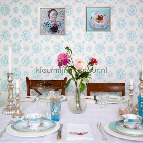 Suzani aqua behang 2200701 romantisch modern Room Seven