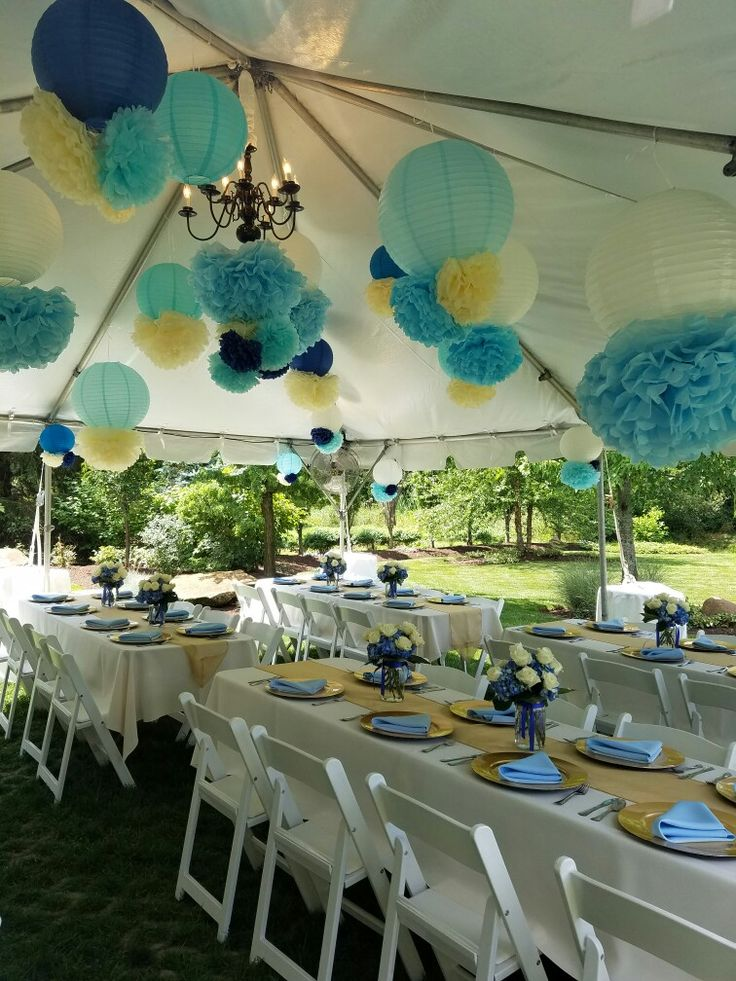 Baby boy prince themed backyard baby shower