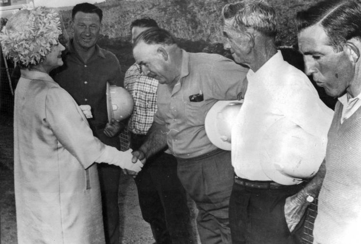 Snowy River workers and the Queen 1966