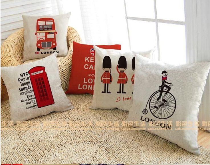 Великобритания лондон телефонной будки автобус модели хлопок белье диван лондон автомобилей декоративные подушки almofadas купить на AliExpress