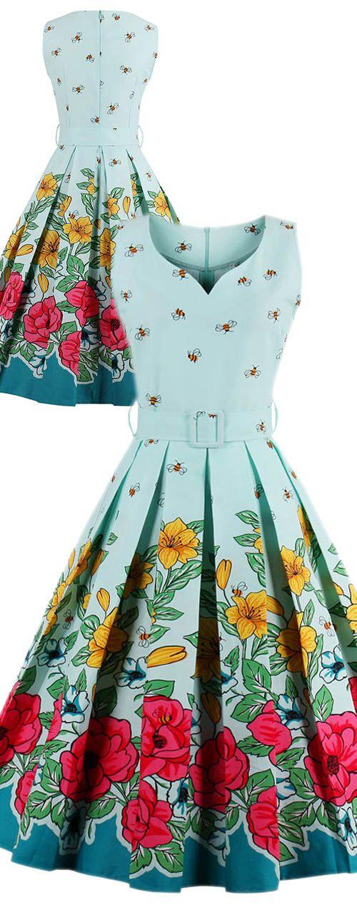 Midi Floral Print Pin Up Dress