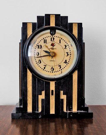 Art Deco inspired clock.  Art Deco, The Great Gatsby, Roaring 20's, 1920's, 1930's, Flapper, Design, Style www.BrassTacksEvents.com www.facebook.com/BrassTacksEvents www.twitter.com/BrassTacksEvent
