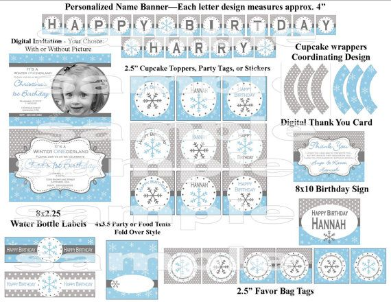 SALE   Winter Wonderland Onederland Blue Snowflake Birthday Party Package - Digital Printable File (Includes Invitation & Thank You)