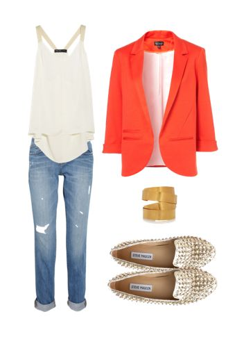 Love. this. whole. shebang.: Boyfriend Jeans, Coral Blazer, Studs Loafers, Colors Blazers, Studs Flats, Boyfriends Jeans, Everyday Outfits, Orange Blazers, Blazers Outfits