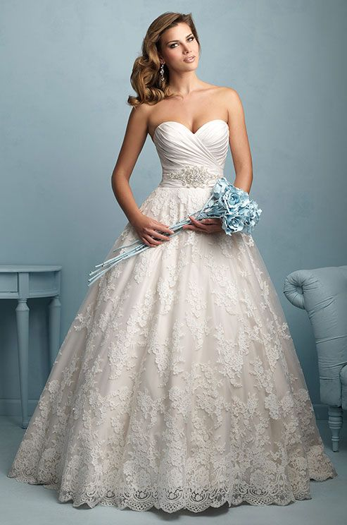 Beautiful lace ball gown wedding dress by Allure, 2015