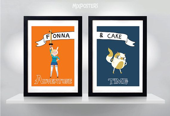 ADVENTURE TIME Fionna and Cake Wall Art Print от MixPosters