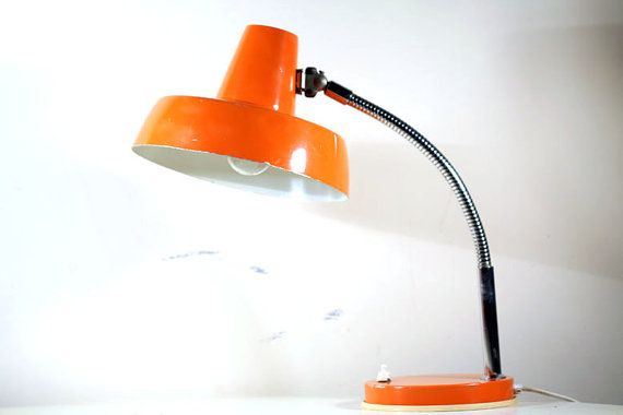Vintage orange desk lamp table lamp retro Szarvasi by RetroRetek