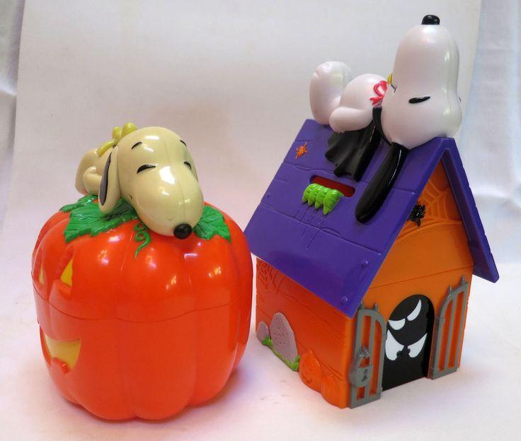 Snoopy Halloween Banks Set of 2 - Vampire and Pumpkin Whitmans Peanuts Gang SALE