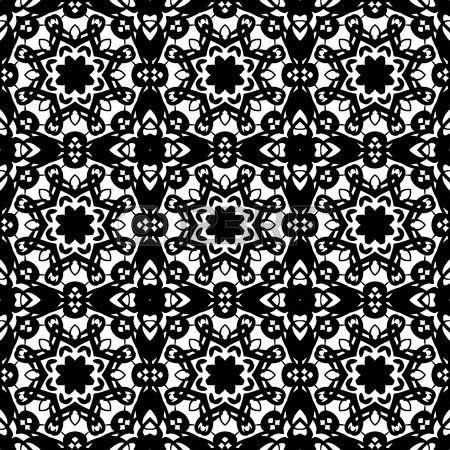 Naadloze patroon illustratie in traditionele stijl - zoals Portugese tegels - in zwart-wit