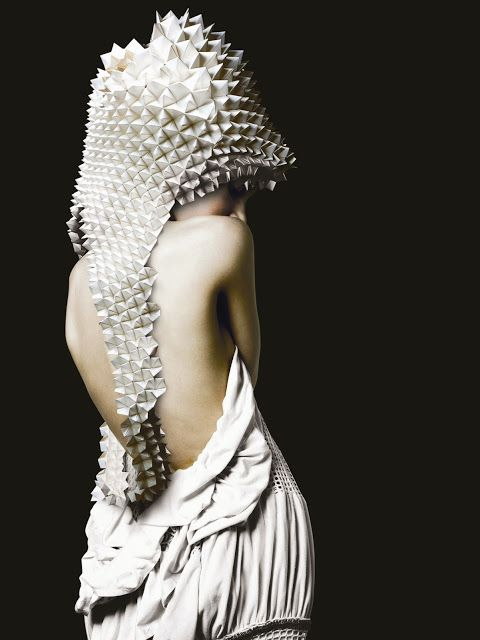 Origami Fashion - folded paper hood; sculptural fashion; paper couture; wearable art // Luisa Robinson