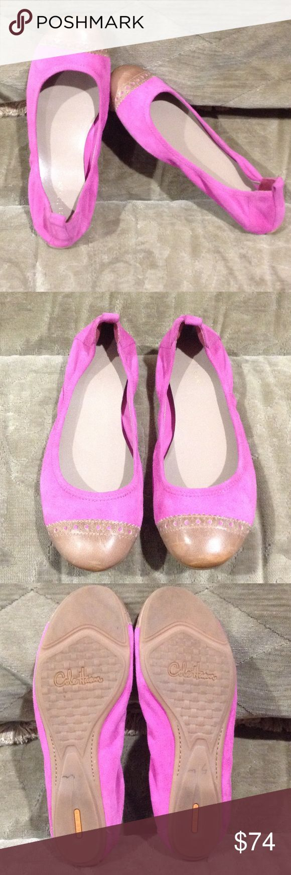 Cole Haan  Nike Air Pink Ballet Flats Adorable pink suede and tan leather toe. So cute and comfy. Cole Haan Shoes Flats & Loafers