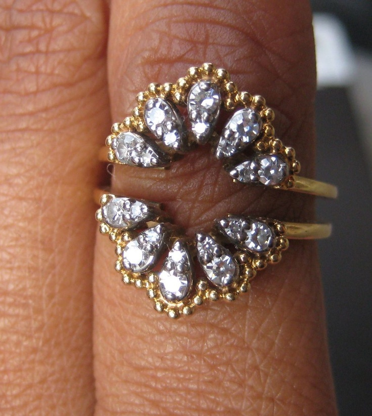 "Fabulous Jabel Diamond 18K ""Clamshell"" Ring Guard, 1940's I want to find this! Help?"