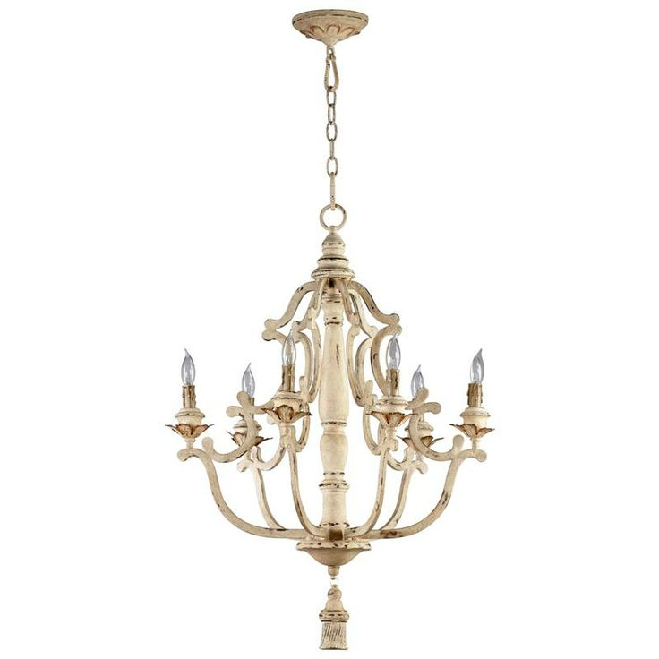 French Country Lighting Ceiling Maison Antique White 6 Light Chandelier