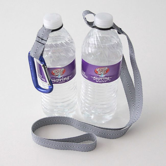 Water bottle holder - made with ribbon and a rubber O-ring (found in the plumbing department of any hardware store).