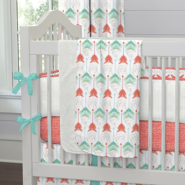 Coral And Teal Arrows Fabric By The Yard Crib Blanket