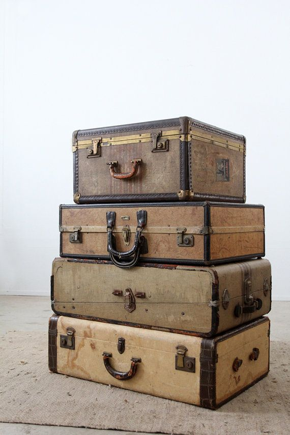 vintage 30s luggage / suitcase with travel hotel stickers on Etsy, $325.00