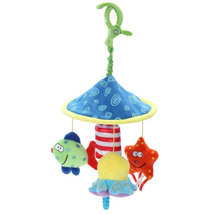 Baby Bed Toy Soft Plush Toy Rattles Crib Bell Educational Toy Rotate Wind-up Twist Car and  Baby Stroller Funny Rattles Toy