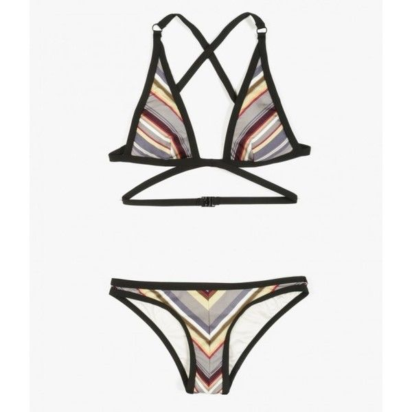 Zimmermann Ticking Wrap Bikini Set ($265) ❤ liked on Polyvore featuring swimwear, bikinis, pewter stripe, zimmermann swimwear, sexy beach wear, sexy bikini, sexy beach bikini and sexy bikini swimwear