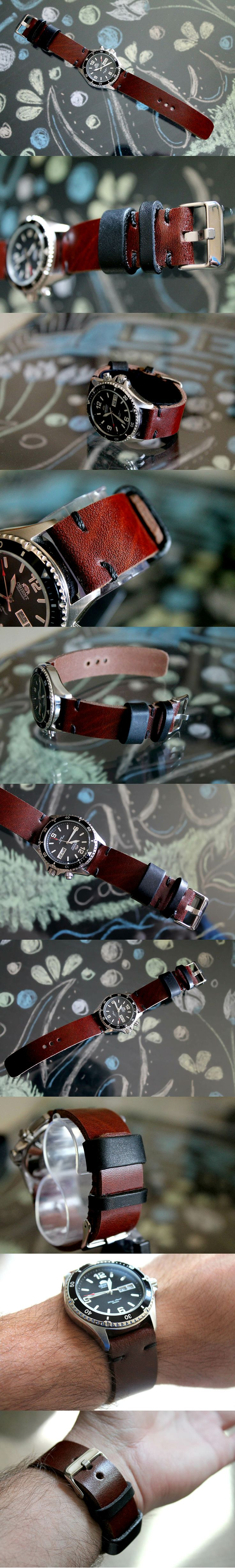 Hand-made leather watch strap