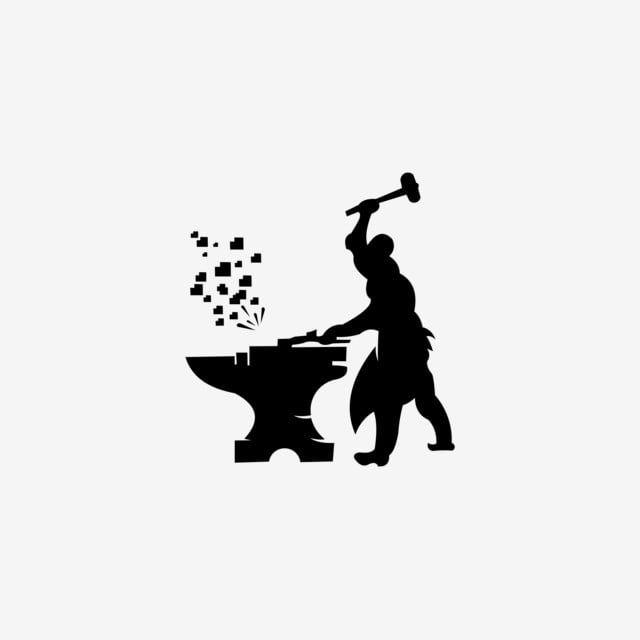 شعار Smithy صورة ظلية حدادة منمنمة تعمل مع المطرقة والسندان رمز ناقل حديث بسيط المهنية رسم عامل Png والمتجهات للتحميل مجانا Vector Icons Free Simple Icon Blacksmithing