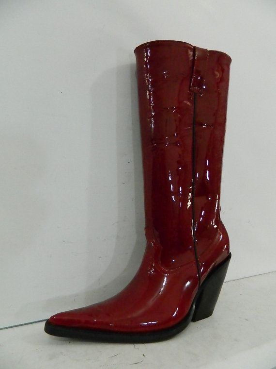 13cd035a634fb Made to order Red patent leather extreme sharp toe cowboy boots 4 ...