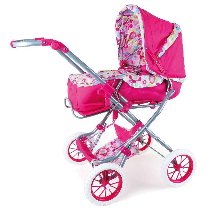 Met deze poppenwagen wil ieder meisje graag wandelen. Sportieve wielen en een fantastisch design maken van deze poppenwagen een echte blikvanger. Het poppenkind kan ook in de uitneembare tas gedragen worden en de poppenwagen kan makkelijk voor de transport samengevouwen worden.