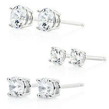 Diamonique 3.3ct tw Set of 3 Stud Earrings Sterling Silver