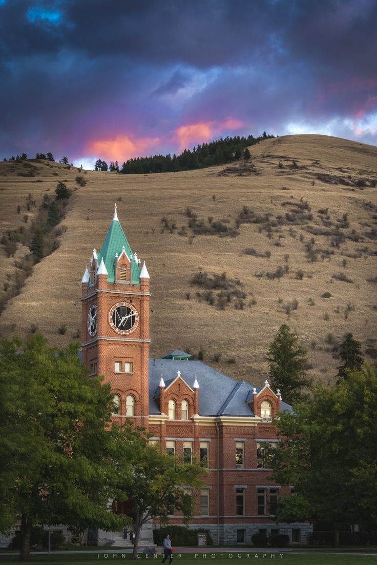 University of Montana in Missoula, Main Hall and Mount Sentinel | Sunset on Sentinel by John Center