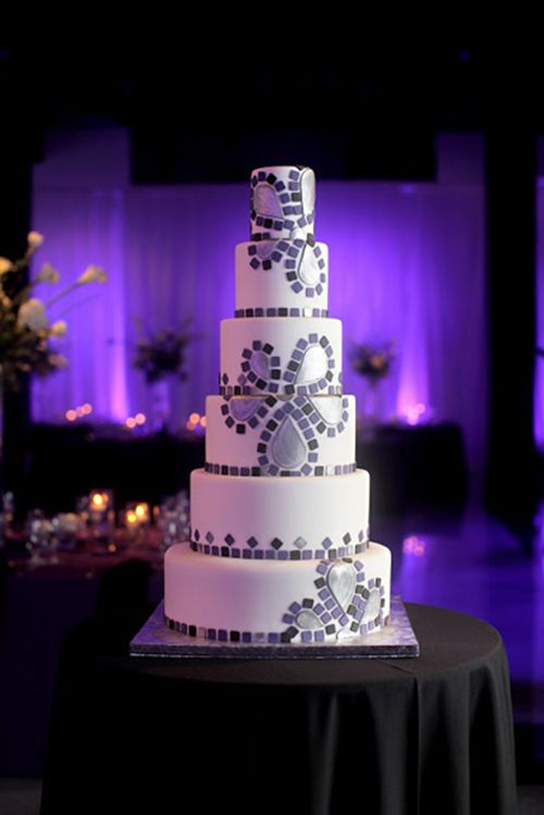 A six-tiered, mosaic wedding cake |  Kakes by Karen | Brides.com