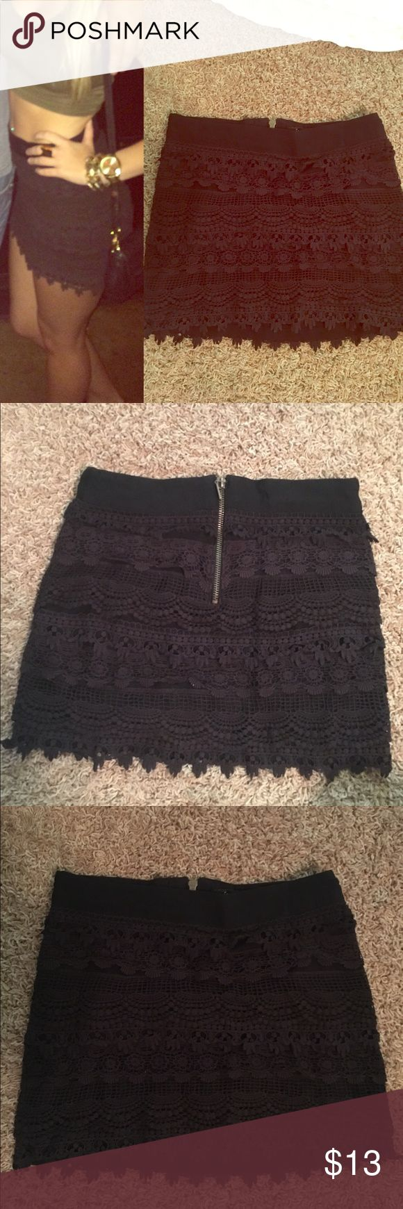 Black scalloped lace mini skirt! Black lace mini skirt. Super flattering & form fitting. Size small. Worn once. Not Kendal & Kylie, just using for exposure but I've seen something similar in their brand! Kendall & Kylie Skirts Mini