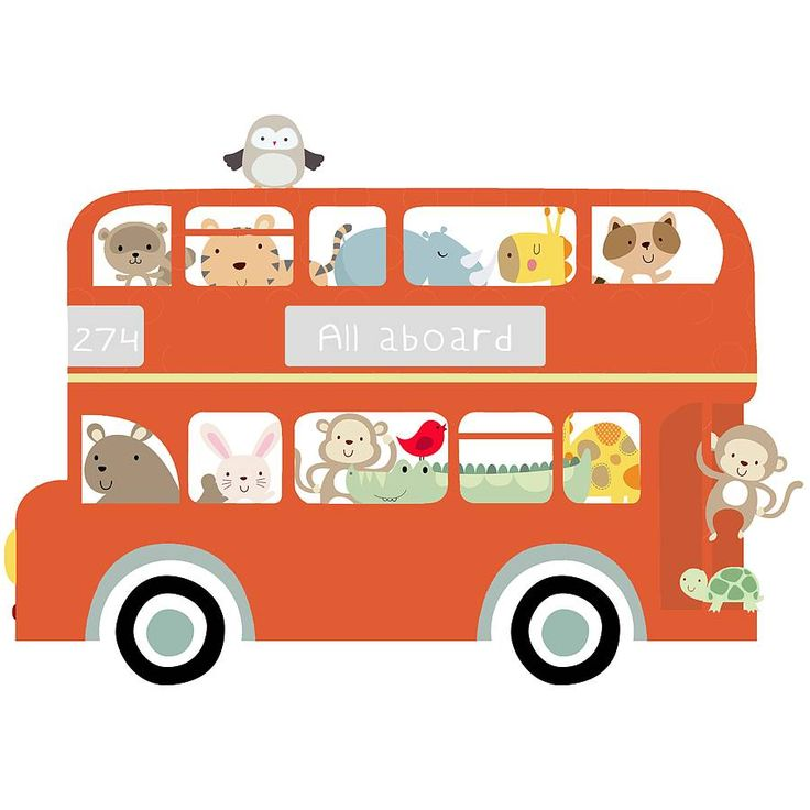 All Aboard Bus Fabric Wall Sticker