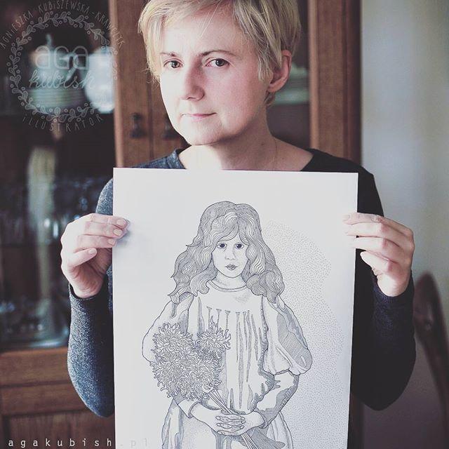 Ciąg dalszy tematu Olgi Boznańskiej :) oryginalny rozmiar grafiki wygląda tak. Zeszyt jest już w druku :) jak zwykle niecierpliwie czekam na wydruki.. #agakubish #graphic #illustration #poster #posterydokolorowania #boznanska #olgaboznanska #lines #dots #ink #portrait #blondie #polishwoman #madeinpoland #warsaw #november #girlwithflowers #art #design #artwork #global_ladies #artist #sketch #doodle #coloringbook
