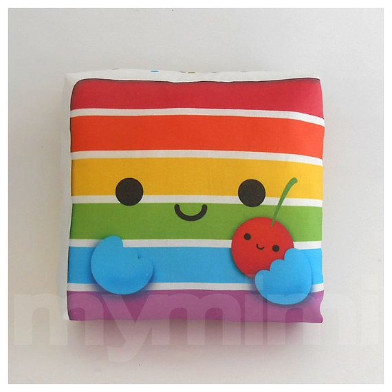 Rainbow Cake - Decorative Pillow - Throw Pillow - Kawaii Pillow - Home Decor - Room Decor - Dorm Decor - Novelty - Childrens Toys - 7 x 7""