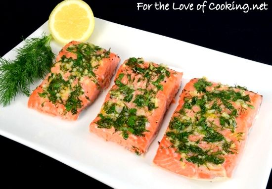 Slow Roasted Salmon with Garlic, Dill, Parsley,Tarragon and Lemon