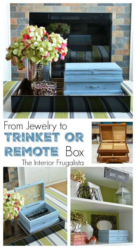 From Wooden Thrift Store Jewelry Box transformed into a Pretty Trinket or Remote Control Storage Box