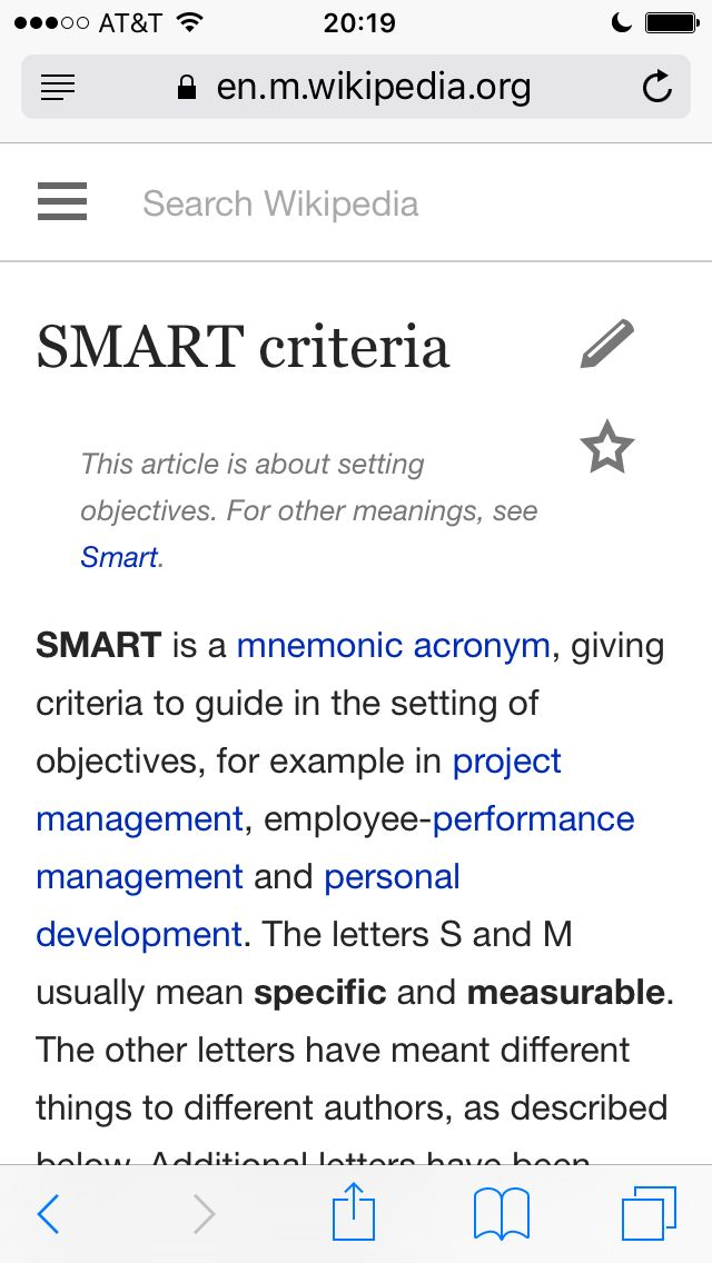 SMART criteria (giving criteria to guide in the setting of objectives)