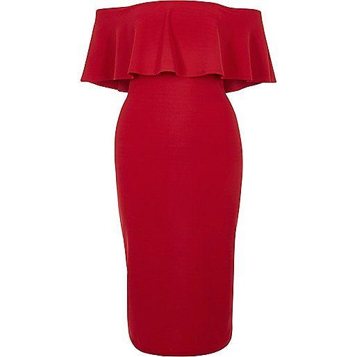 Robe moulante à volant style Bardot rouge - Robes moulantes - Robes - Femme