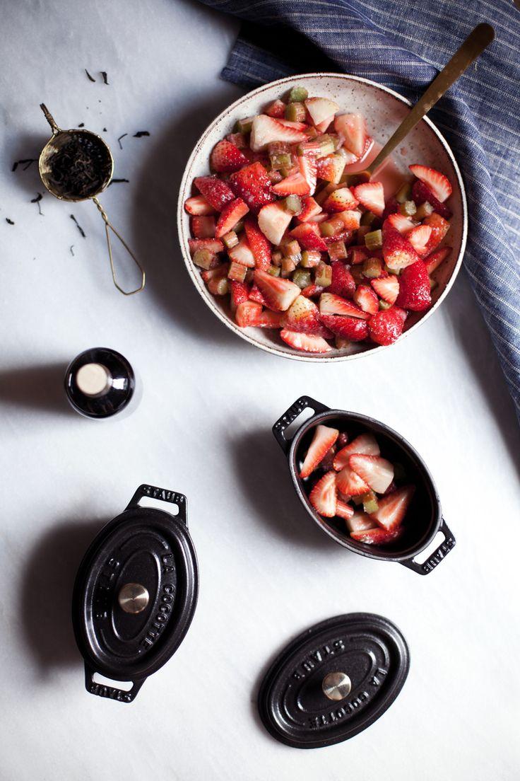 Hey Modest Marce's Strawberry Rhubarb Crisp becomes 100x cuter in Staub Mini Oval Cocottes! #MadeinStaub
