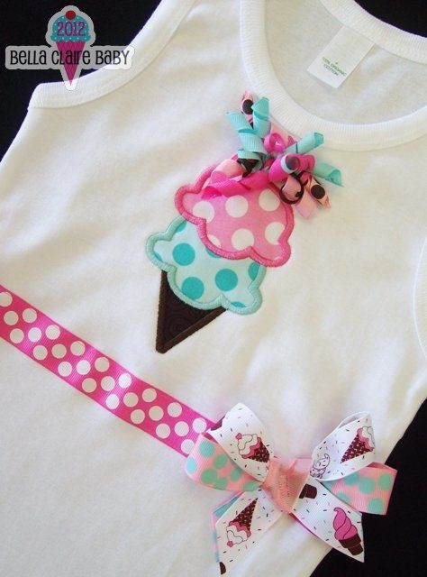 Ice Cream Dreams Tank Ready to Ship size 4 Applique sleeveless tank with ribbon and bow for baby girl