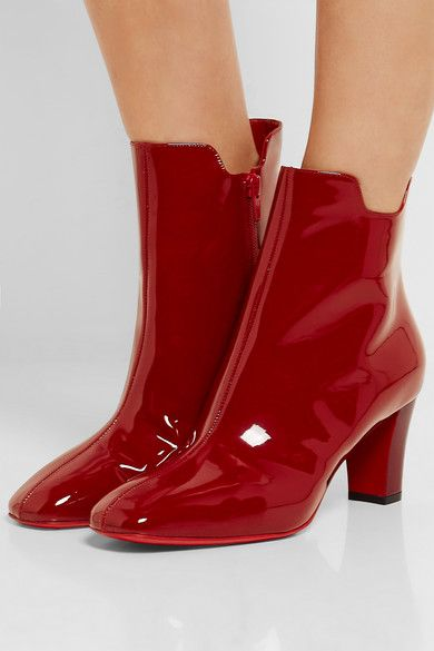 Heel measures approximately 70mm/ 2.5 inches Cherry patent-leather Zip fastening along side Designer color: Carmin Made in Italy
