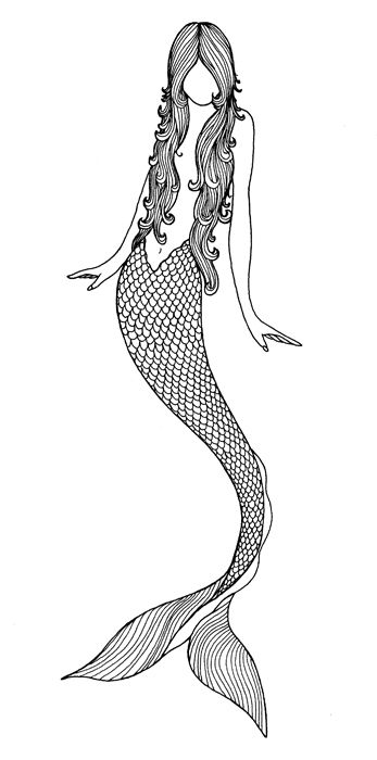 Line Art Mermaid : My mermaid tattoo beautiful drawing by matt allen
